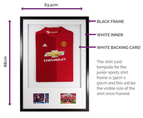 Vivarti DIY Junior 3D Mounted + Double Aperture Sports Shirt Display Frame A1 59.4 x 84cm - Black Frame, White Mount, White Backing Card