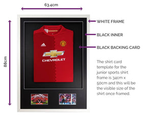 Vivarti DIY Junior 3D Mounted + Double Aperture Sports Shirt Display Frame A1 59.4 x 84cm - White Frame, Black Mount, Black Backing Card