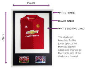 Vivarti DIY Junior 3D Mounted + Double Aperture Sports Shirt Display Frame A1 59.4 x 84cm - White Frame, Black Mount, White Backing Card