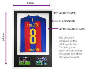 Vivarti DIY Adult 3D Mounted + Double Aperture Sports Shirt Display Frame 61 x 91.5cm - White Frame, Black Mount, White Backing Card