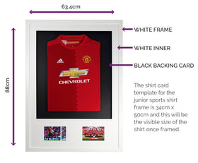 Vivarti DIY Junior 3D Mounted + Double Aperture Sports Shirt Display Frame A1 59.4 x 84cm - White Frame, White Mount, Black Backing Card