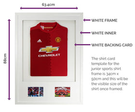 Vivarti DIY Junior 3D Mounted + Double Aperture Sports Shirt Display Frame A1 59.4 x 84cm - White Frame, White Mount, White Backing Card