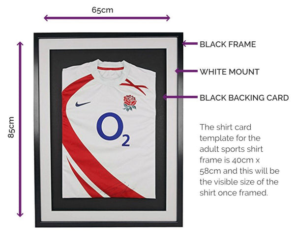 Vivarti 3D DIY Adult Sports Shirt Display Frame For Football, Rugby, Cricket, Sports Shirt Display Frame - Black Frame, White Mount, Black Backing Card