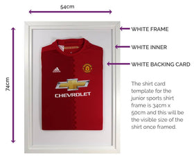 Vivarti DIY Junior Standard Sports Shirt Display Frame 50 x 70cm - White Frame, White Inner Frame, White Backing Card