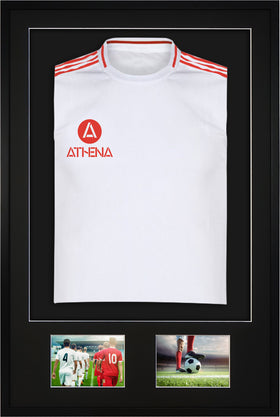 Athena Premium Wood DIY Adult 3D Mounted + Double Aperture Sports Shirt Display Frame 61 x 91.5cm - Black Frame, Black Mount, Black Backing Card