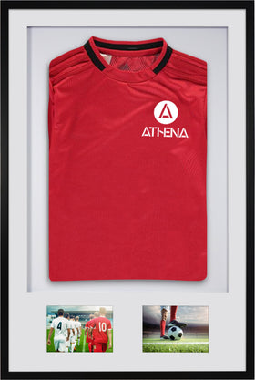 Athena Premium Wood DIY Adult 3D Mounted + Double Aperture Sports Shirt Display Frame 61 x 91.5cm - Black Frame, White Mount, White Backing Card