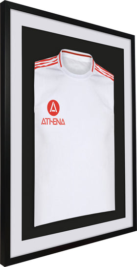 Athena Premium Wood DIY Adult 3D Mounted Sports Shirt Display Frame 60 x 80cm - Black Frame, White Mount, Black Backing Card