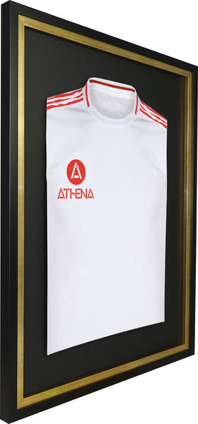 Athena Premium Wood DIY Adult Standard Sports Shirt Display Frame 60 x 80cm - Black Frame, Gold Inner Frame, Black Backing Card