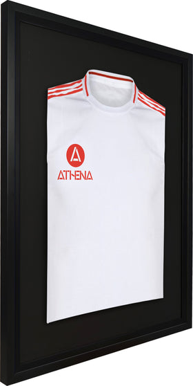 Athena Premium Wood DIY Adult Standard Sports Shirt Display Frame 60 x 80cm - Black Frame, Black Inner Frame, Black Backing Card
