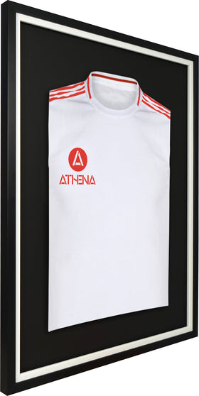 Athena Premium Wood DIY Adult Standard Sports Shirt Display Frame 60 x 80cm - Black Frame, White Inner Frame, Black Backing Card