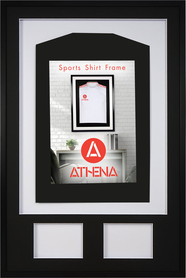Athena Premium Wood DIY Adult 3D Mounted + Double Aperture Sports Shirt Display Frame 61 x 91.5cm - Black Frame, Black Mount, White Backing Card