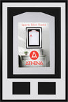 Athena Premium Wood DIY Adult 3D Mounted + Double Aperture Sports Shirt Display Frame 61 x 91.5cm - Black Frame, White Mount, Black Backing Card