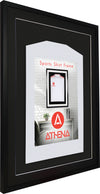 Athena Premium Wood DIY Adult 3D Mounted Sports Shirt Display Frame 60 x 80cm - Black Frame, Black Mount, Black Backing Card