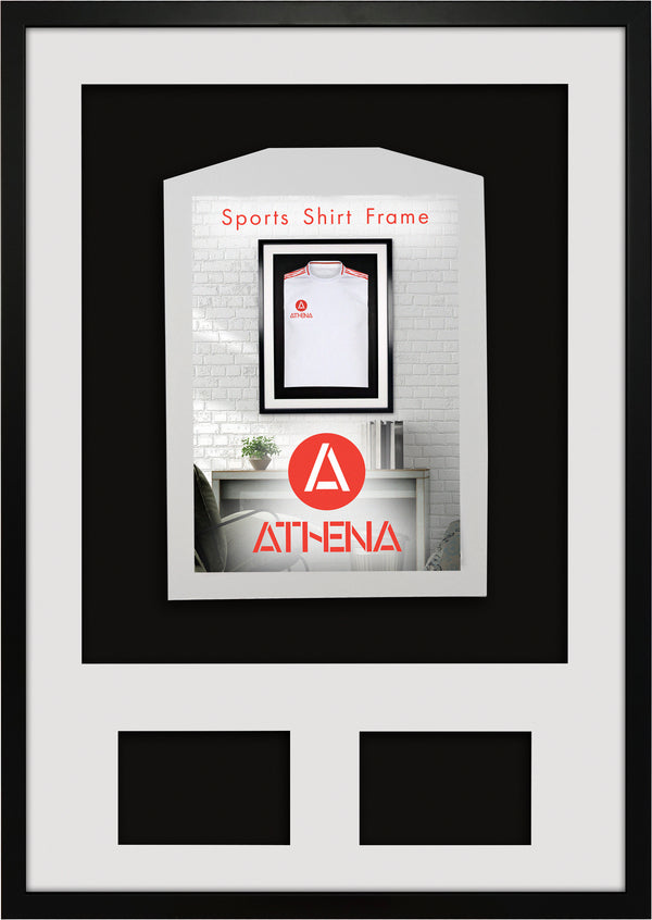 Athena Premium Wood DIY Infant 3D Mounted + Double Aperture Sports Shirt Display Frame 50 x 70 cm - Black Frame, White Mount, Black Backing Card