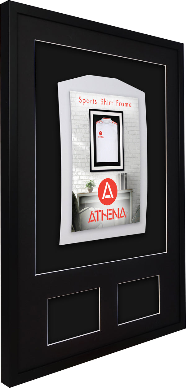 Athena Premium Wood DIY Infant 3D Mounted + Double Aperture Sports Shirt Display Frame 50 x 70 cm - Black Frame, Black Mount, Black Backing Card