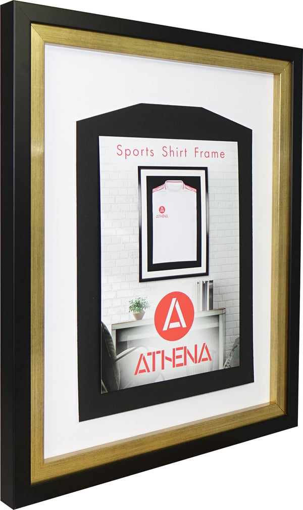 Athena Premium Wood DIY Infant Standard Sports Shirt Display Frame 40 x 50 cm - Black Frame, Gold Inner Frame, White Backing Card