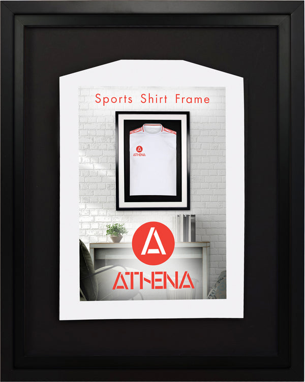 Athena Premium Wood DIY Infant Standard Sports Shirt Display Frame 40 x 50 cm - Black Frame, Black Inner Frame, Black Backing Card