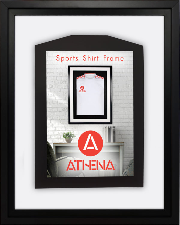 Athena Premium Wood DIY Infant Standard Sports Shirt Display Frame 40 x 50 cm - Black Frame, Black Inner Frame, White Backing Card