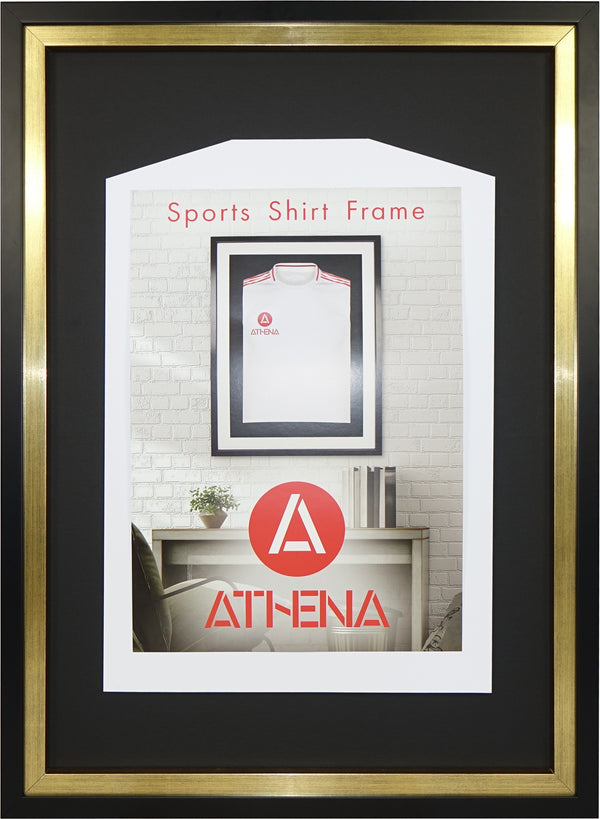 Athena Premium Wood DIY Junior Standard Sports Shirt Display Frame 50 cm x 70 cm - Black Frame, Gold Inner Frame, Black Backing Card