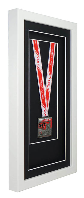 Deluxe Single Medal Display Frame - White Frame, Black Mount Card & Black Backing Card