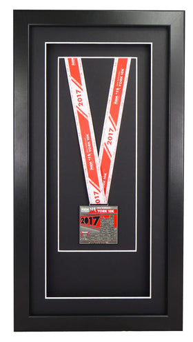 Deluxe Single Medal Display Frame - Black Frame, Black Mount Card & Black Backing Card