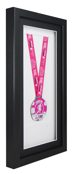 Deluxe Single Medal Display Frame - Black Frame, Black Mount Card & White Backing Card