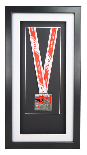 Deluxe Single Medal Display Frame - Black Frame, White Mount Card & Black Backing Card