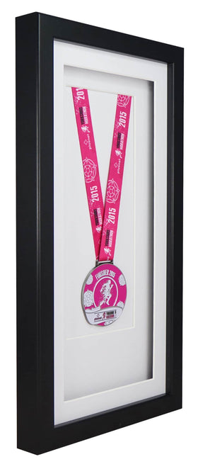 Deluxe Single Medal Display Frame - Black Frame, White Mount Card & White Backing Card
