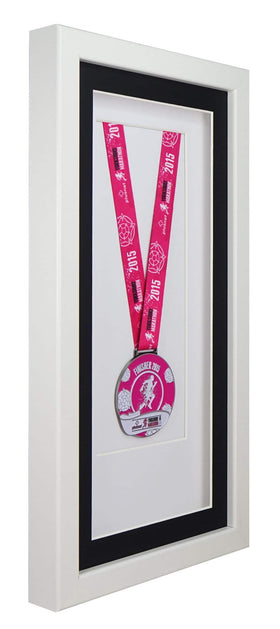 Deluxe Single Medal Display Frame - White Frame, Black Mount Card & White Backing Card