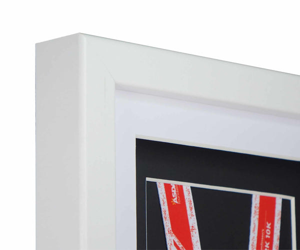 Deluxe Single Medal Display Frame - White Frame, White Mount Card & Black Backing Card
