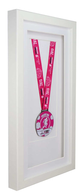 Deluxe Single Medal Display Frame - White Frame, White Mount Card & White Backing Card