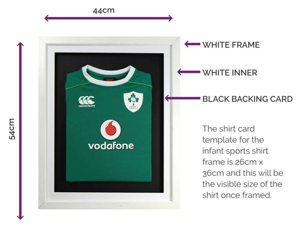 Vivarti Infant 3D DIY Sports Shirt Display Frame For Football, Rugby, Cricket - White Frame, White Mount, Black Backing Card