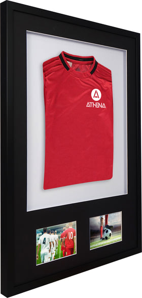 Athena Premium Wood DIY Infant 3D Mounted + Double Aperture Sports Shirt Display Frame 50 x 70 cm - Black Frame, Black Mount, White Backing Card