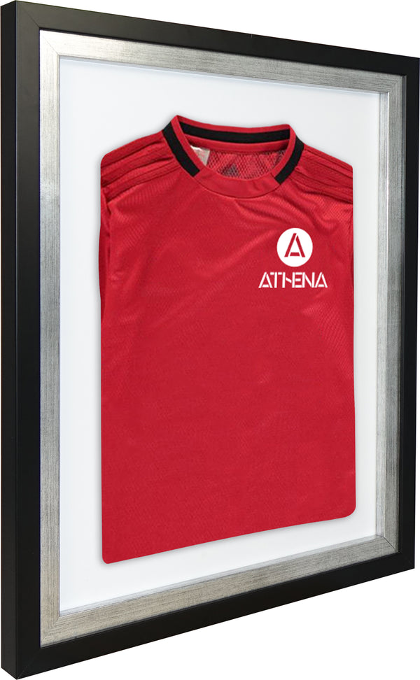 Athena Premium Wood DIY Infant Standard Sports Shirt Display Frame 40 x 50 cm - Black Frame, Platinum Inner Frame, White Backing Card