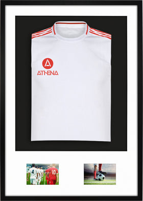 Athena Premium Wood DIY Junior 3D Mounted + Double Aperture Sports Shirt Display Frame 59.4cm x 84cm - Black Frame, White Mount, Black Backing Card