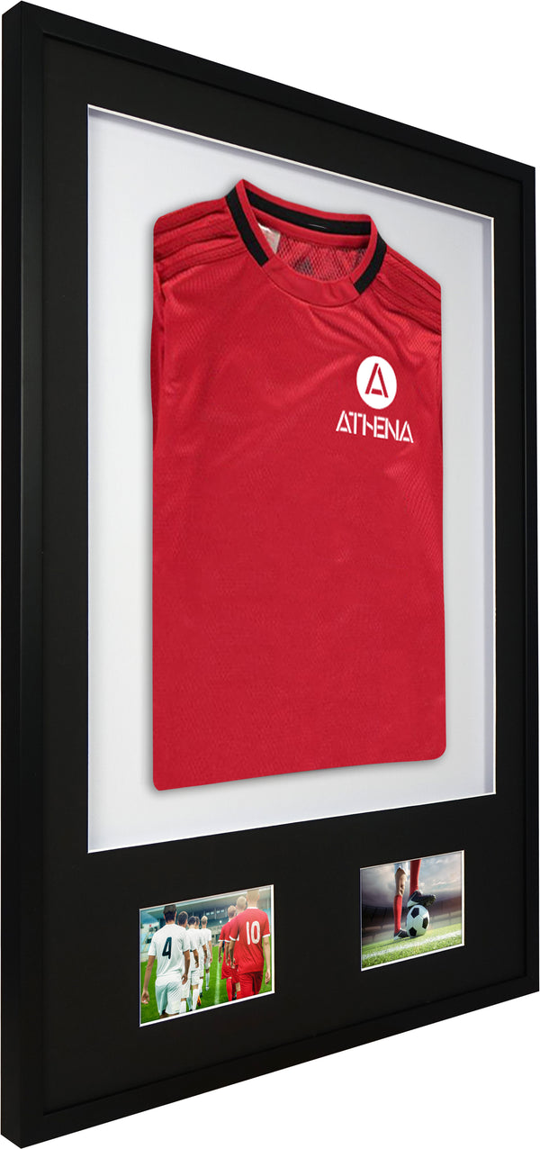 Athena Premium Wood DIY Junior 3D Mounted + Double Aperture Sports Shirt Display Frame 59.4cm x 84cm - Black Frame, Black Mount, White Backing Card