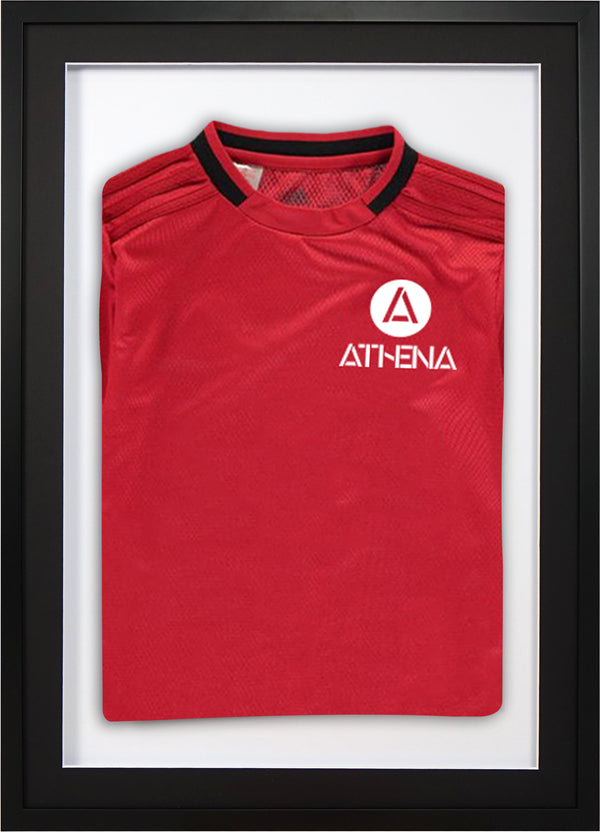 Athena Premium Wood DIY Junior 3D Mounted Sports Shirt Display Frame 50 cm x 70 cm - Black Frame, Black Mount, White Backing Card