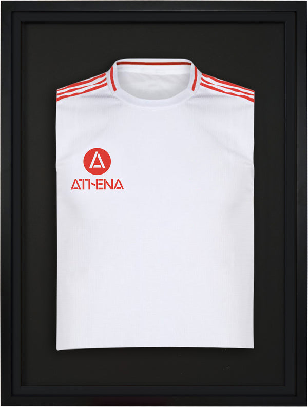 Athena Premium Wood DIY Junior Standard Sports Shirt Display Frame 50 cm x 70 cm - Black Frame, Black Inner Frame, Black Backing Card