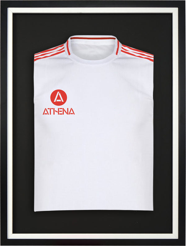 Athena Premium Wood DIY Junior Standard Sports Shirt Display Frame 50 cm x 70 cm - Black Frame, White Inner Frame, Black Backing Card