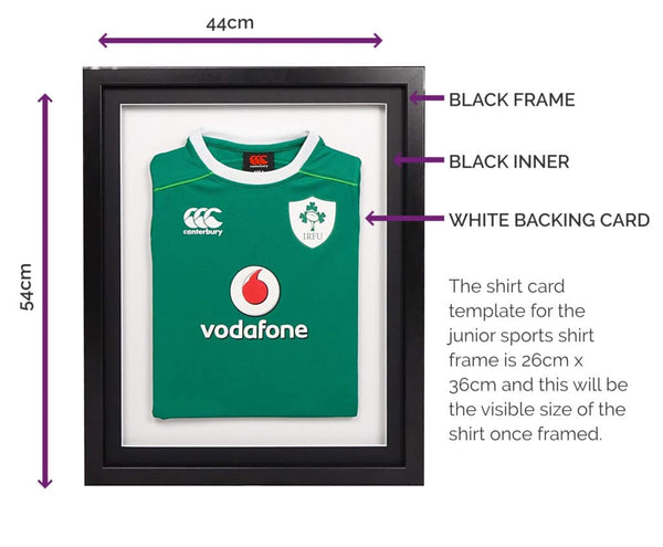 Vivarti Infant 3D DIY Sports Shirt Display Frame For Football, Rugby, Cricket - Black Frame, Black Mount, White Backing Card