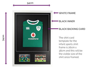 Vivarti DIY Infant 3D Mounted + Double Aperture Sports Shirt Display Frame - White Frame, Black Mount, Black Backing Card