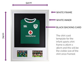 Vivarti DIY Infant 3D Mounted + Double Aperture Sports Shirt Display Frame - White Frame, White Mount, Black Backing Card