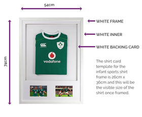 Vivarti DIY Infant 3D Mounted + Double Aperture Sports Shirt Display Frame - White Frame, White Mount, White Backing Card