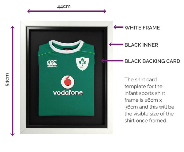Vivarti Infant Standard Sports Shirt Display Frame For Football, Rugby, Cricket - White Frame, Black Inner, Black Backing Card
