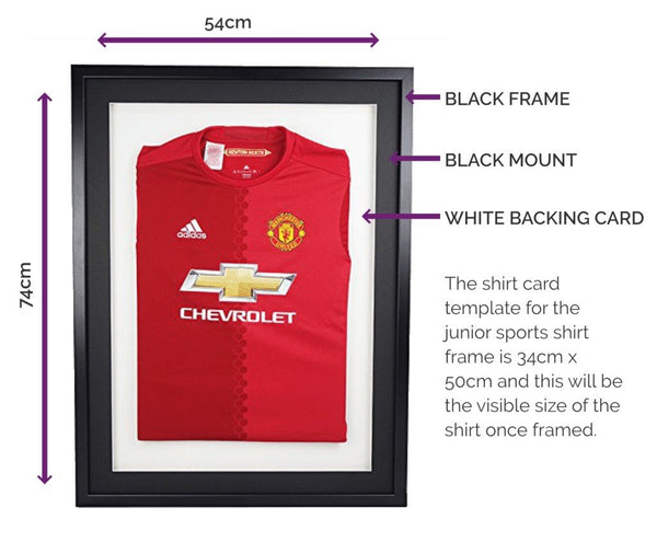 Vivarti Junior 3D DIY Sports Shirt Display Frame For Football, Rugby, Cricket - Black Frame, Black Mount, White Backing Card