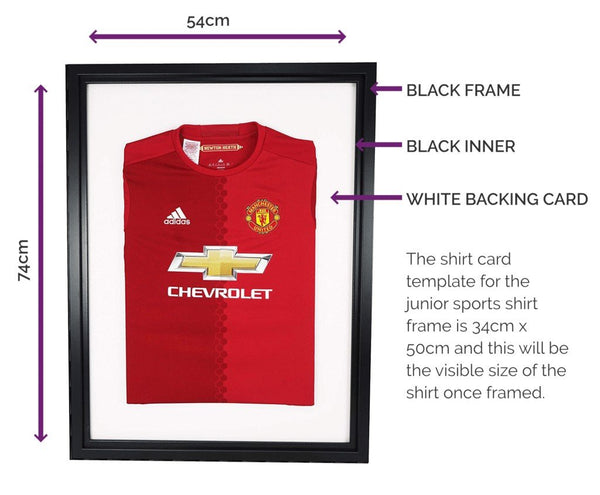 Vivarti DIY Junior Sports Shirt Display Frame For Football, Rugby, Cricket - Black Frame, Black Inner, White Mount