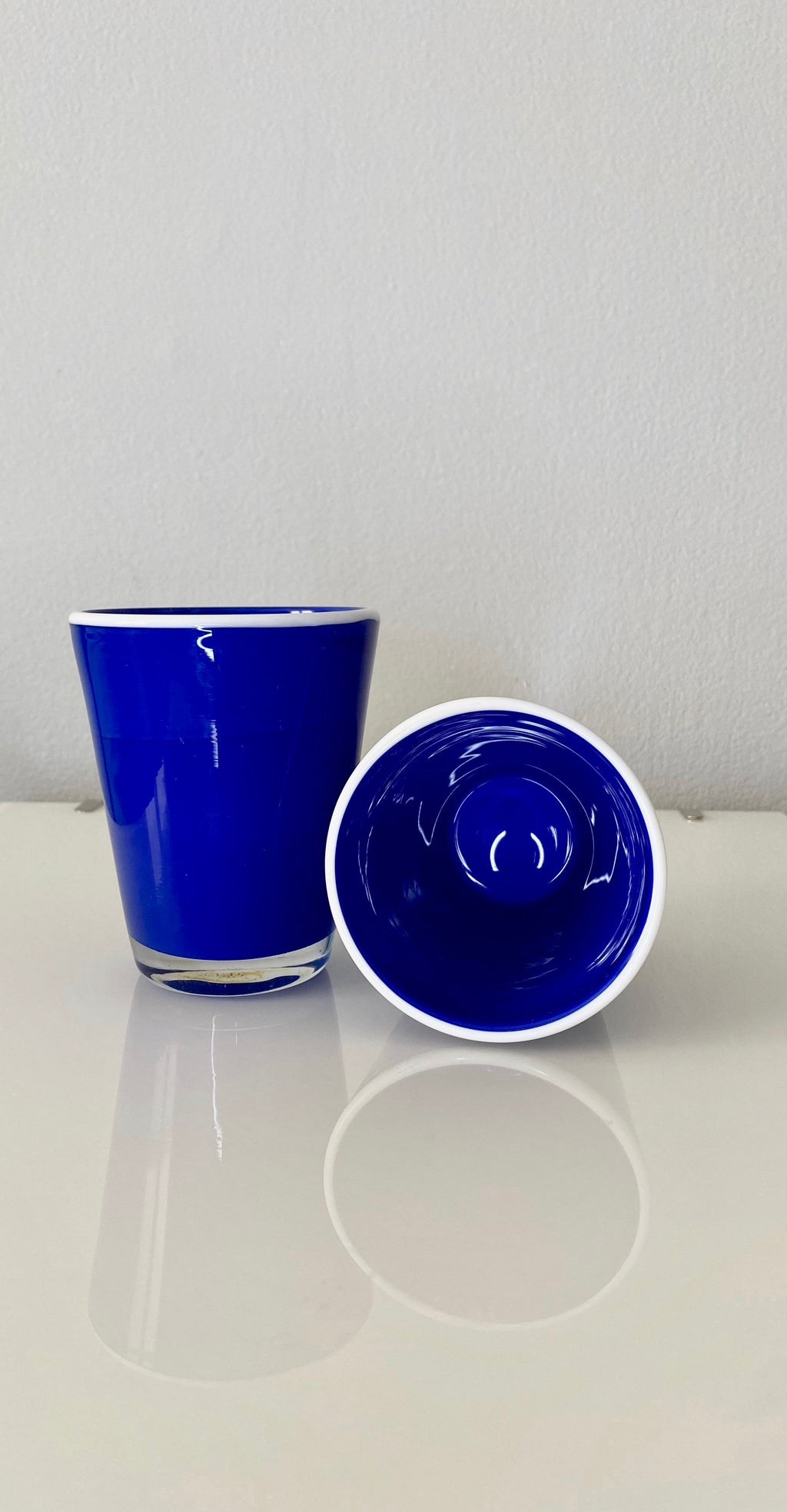Blue Marble Glass Set (VINTAGE)
