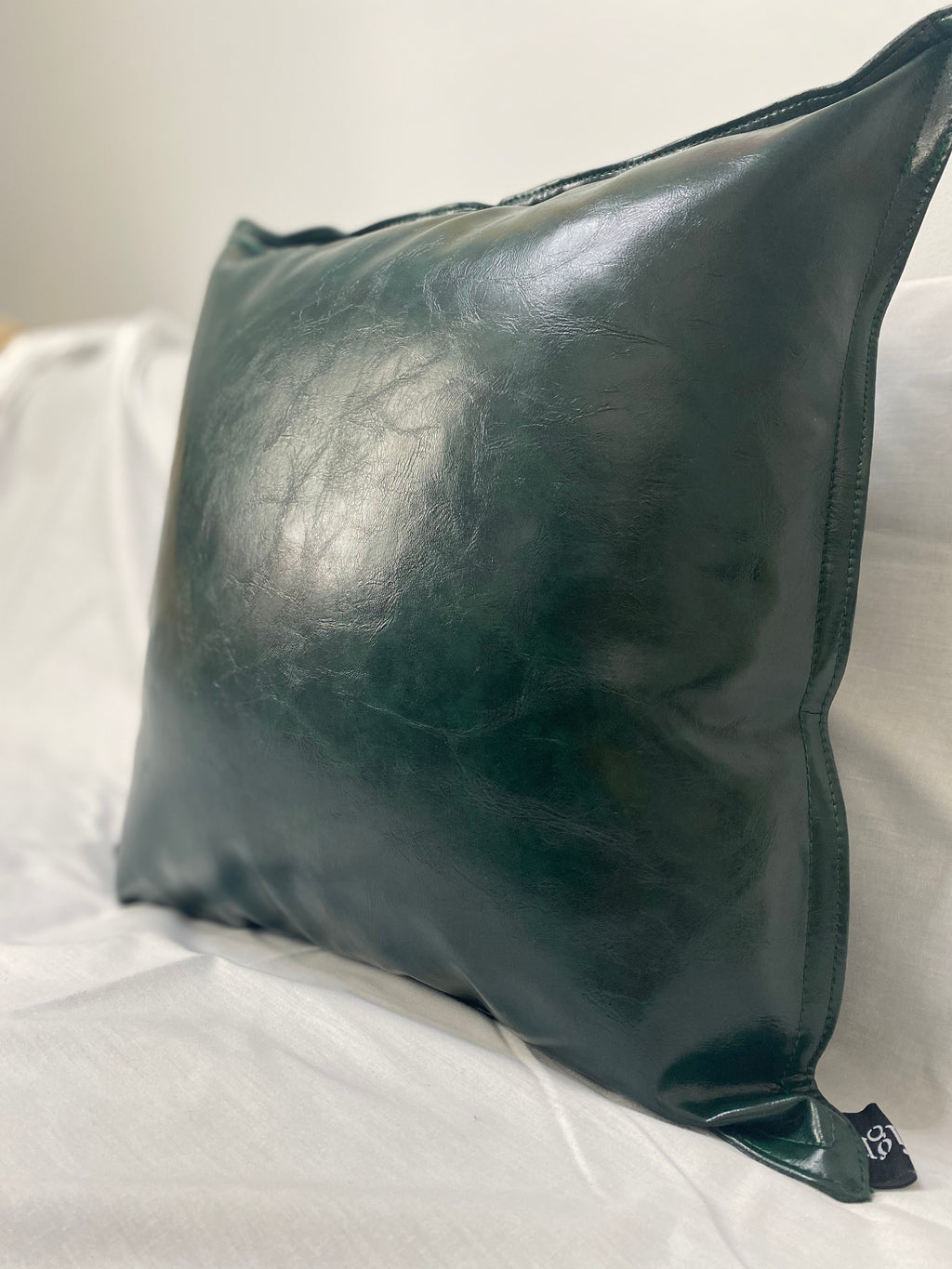 Green Faux Leather Pillow Cover