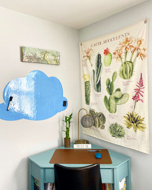 Blue Cloud-Shaped Magnetic Dry Erase Sticker