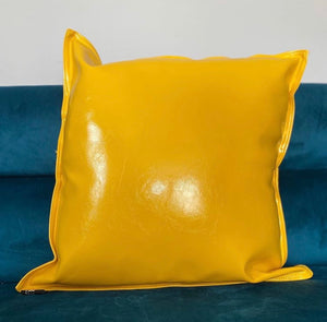 Yellow Faux Leather Pillow Cover